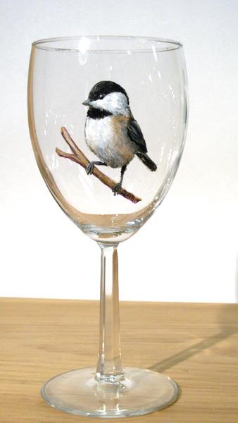 Chickadee on Wineglass