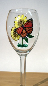 Monarch on Wine glass