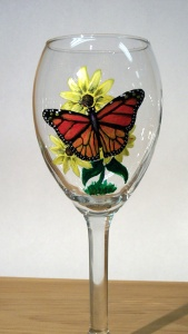 monarch butterfly hand painted on wine glass